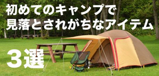 初めてのキャンプで見落とされがちなアイテム3選